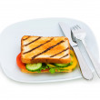Toasted bread with filling isolated — Stock Photo