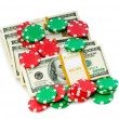 Dollar and casino chip stacks — Stock Photo #1925467