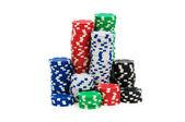 Fichas de Casino aislados en el blanco — Foto de Stock
