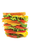 Giant sandwich isolated on the white — Stock Photo