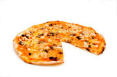 Round pizza isolated on the white — Foto de Stock