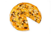 Round pizza isolated on the white — Stock Photo