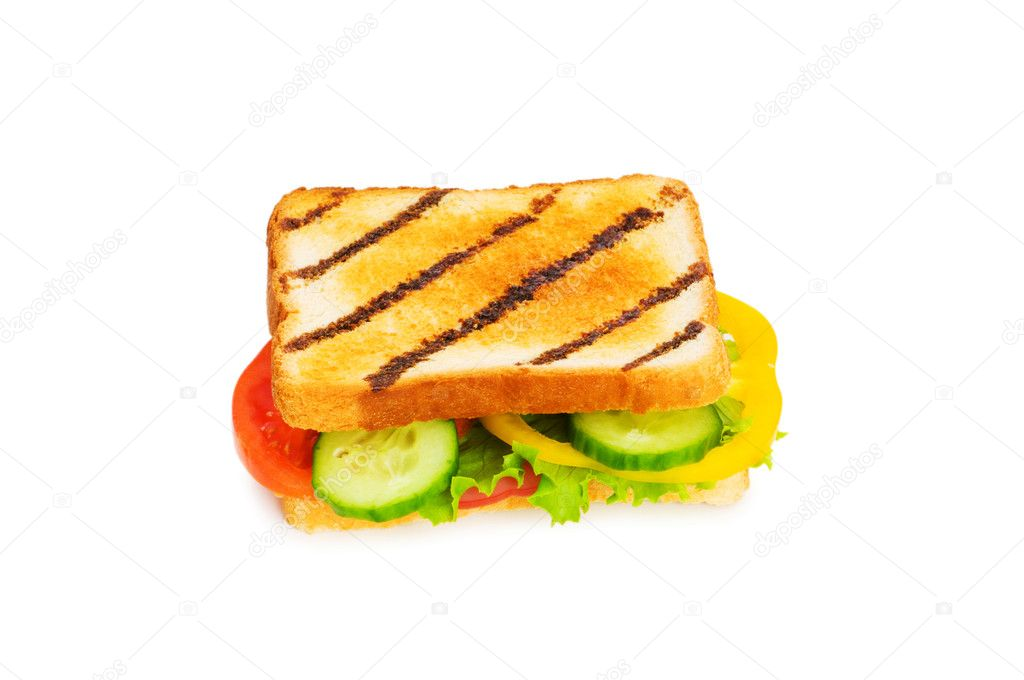 Toasted bread with filling isolated on the white — Stock Photo #1921419