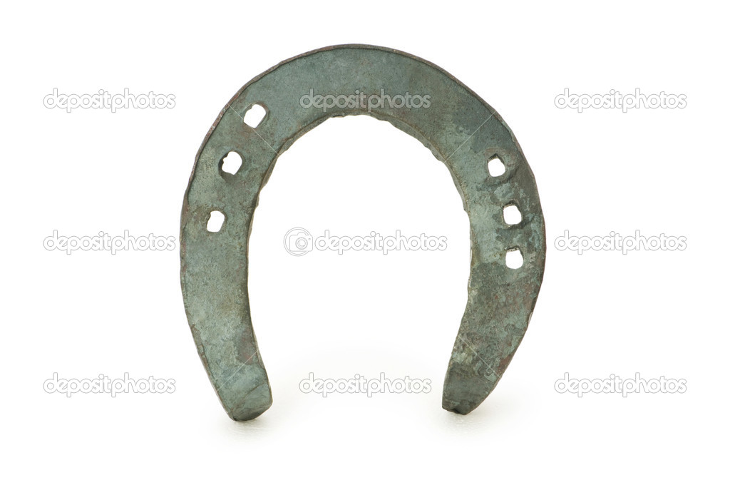 Metal horse shoe isolated on the white  Stock Photo #1922041