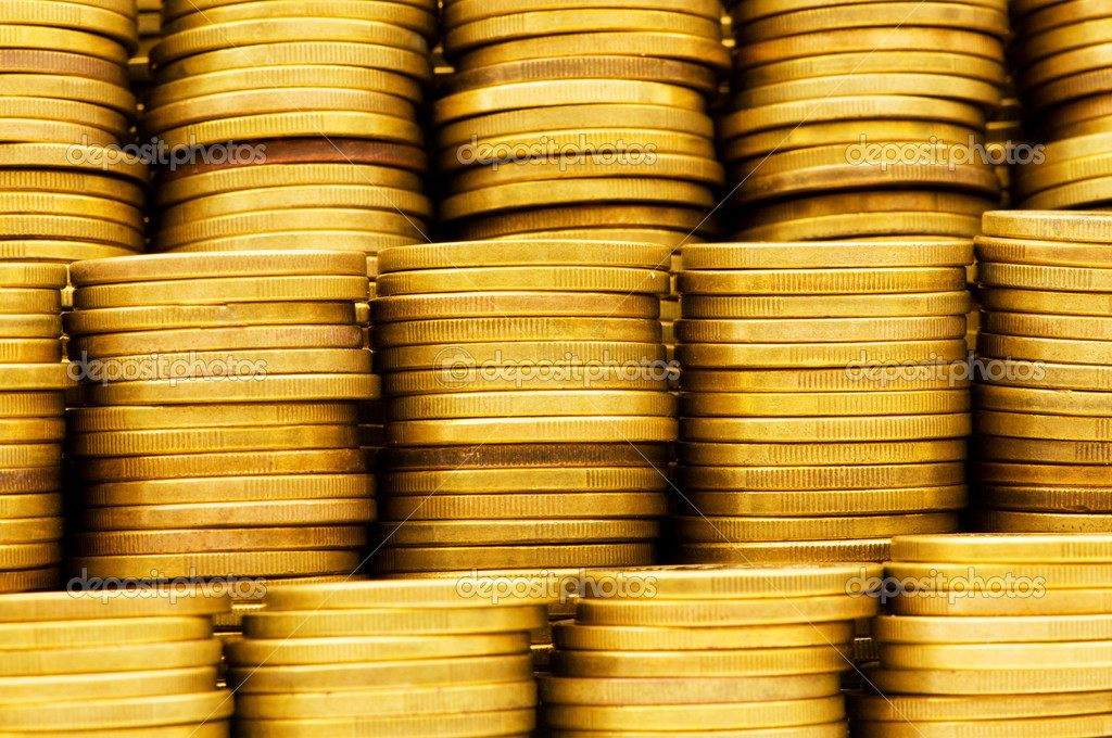 Pile of golden  coins isolated on white — Stock Photo #1922630