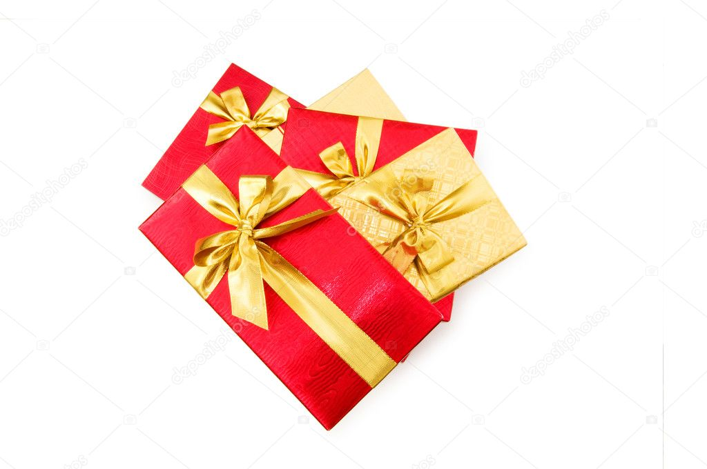 Gift boxes isolated on the white background  Stock Photo #1923346