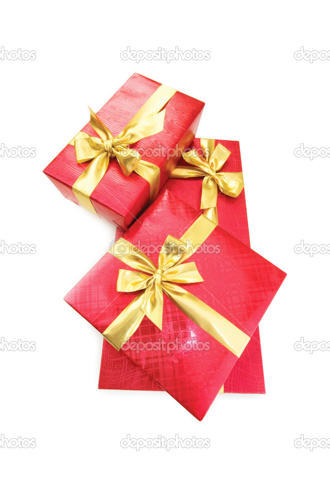 Gift boxes isolated on the white background — Stock Photo #1924074