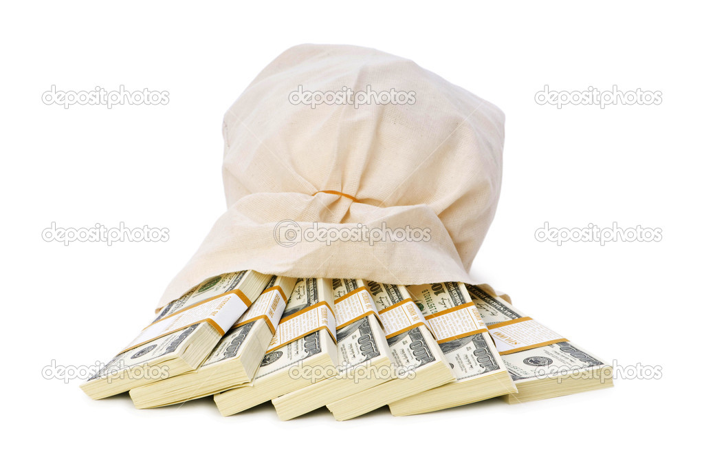 Sacks of money isolated on the white — Stock Photo #1925222