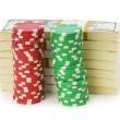 Dollar and casino chip stacks — Stock Photo