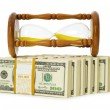 Time is money concept with dollars — Stock Photo