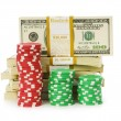 Dollar and casino chip stacks — Stock Photo #1937082