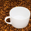 Stock Photo: White cup and background of coffee