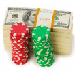 Dollar and casino chip stacks — Stock Photo #1938779