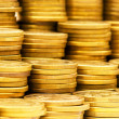 Close up of gold coin stacks — Stock Photo