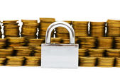 Padlock and coins isolated — Stock Photo