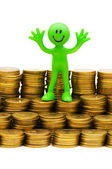Smiley and coins isolated — Stock Photo