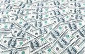 Fond avec plusieurs billets d'un dollar — Photo