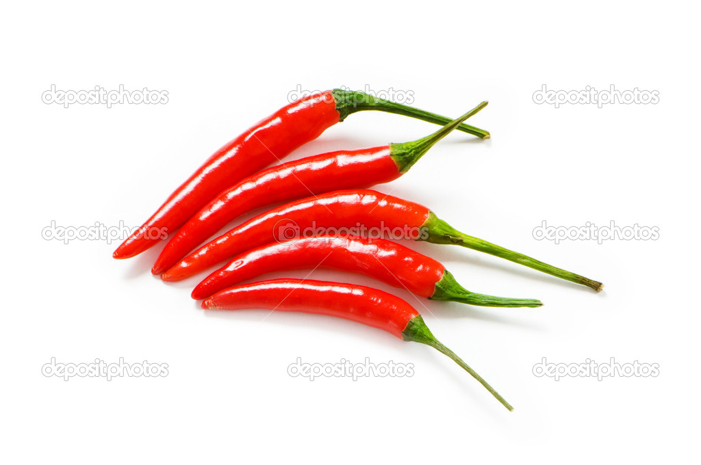 Red chili peppers isolated on the white  Stock Photo #1936649