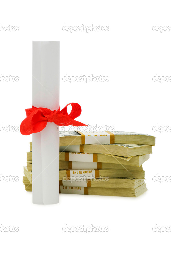 Concept of expensive education - dollars and diploma — Stock Photo #1937055