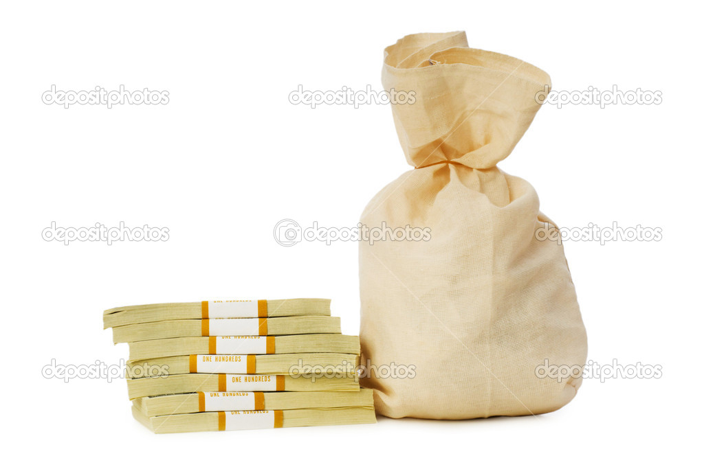 Sacks of money isolated on the white — Stock Photo #1939439