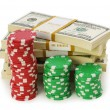 Dollar and casino chip stacks — Stock Photo #1940447