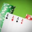 Stock Photo: Casino chips and four aces