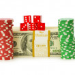 Dollar and casino chip stacks on white — Stock Photo #1942231
