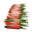 Stock Photo: Red and green peppers isolated