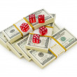 Stock Photo: Red dice and dollars isolated
