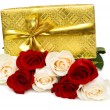 Stock Photo: Giftbox and rose isolated on the white