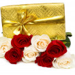 Giftbox and rose isolated on the white — Stock Photo