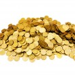 Pile of golden  coins isolated - Stock Photo