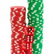 Stack of chips and dice isolated — Stock Photo