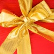Close up of red gift box with bow — Stock Photo #1949666