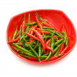 Green and red chili peppers isolated — Stock Photo #1949749