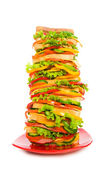 Huge sandwich isolated on the white — Stock Photo