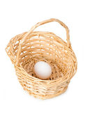 Basket with one egg isolated — Stock Photo