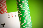 Casino chips and four aces — Stock Photo