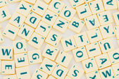Table with many english letter — Stock Photo