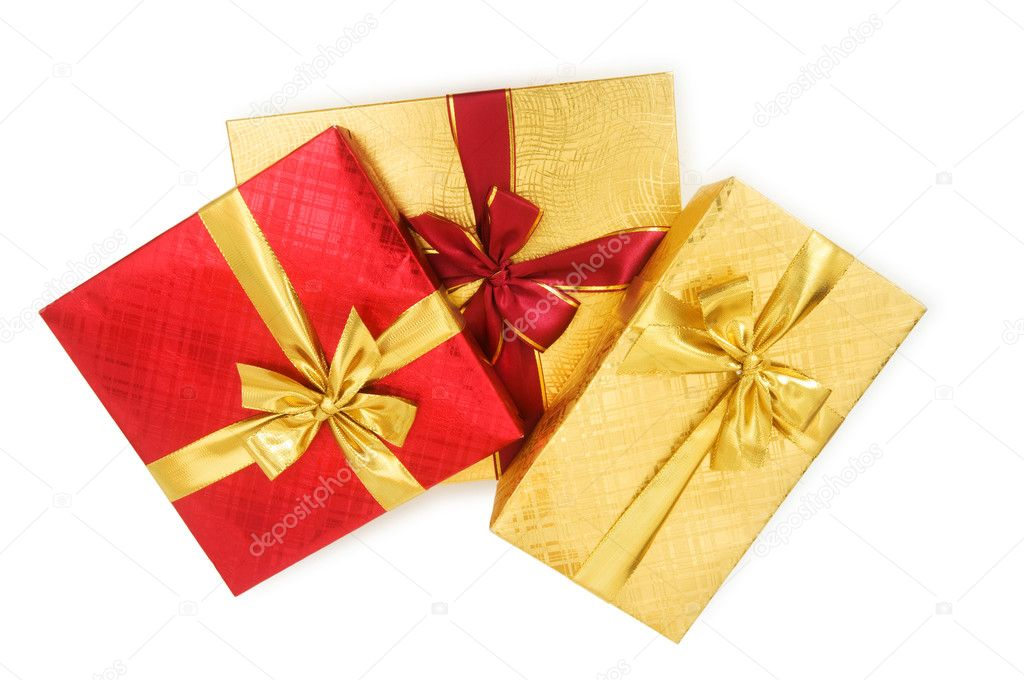 Gift boxes isolated on the white background — Stock Photo #1949617