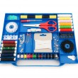 Close up of colourful sewing kit - Stock Photo
