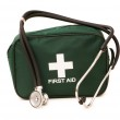First aid kit and stethoscope isolated — Stock Photo