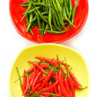 Green and red chili peppers isolated — Stock Photo #1952051