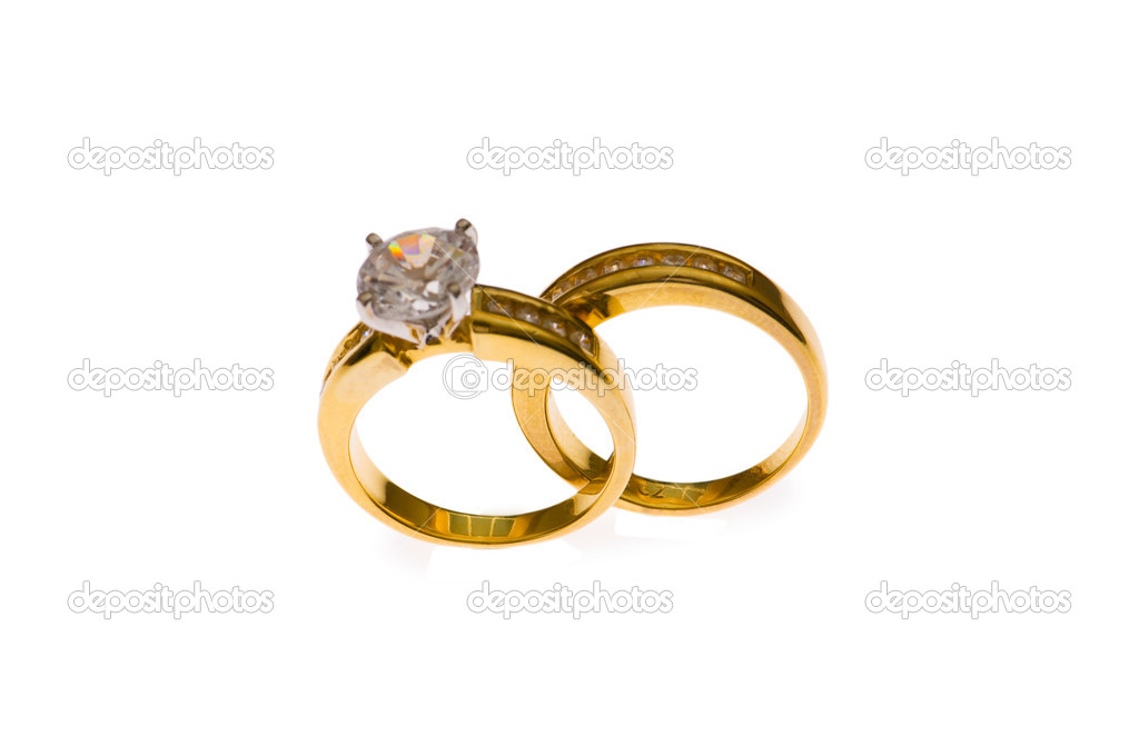 Two wedding rings - selective focus at the lower part — Stock Photo #1950645