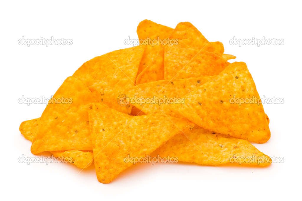 Heap of chips isolated on the white background — Stock Photo #1951233