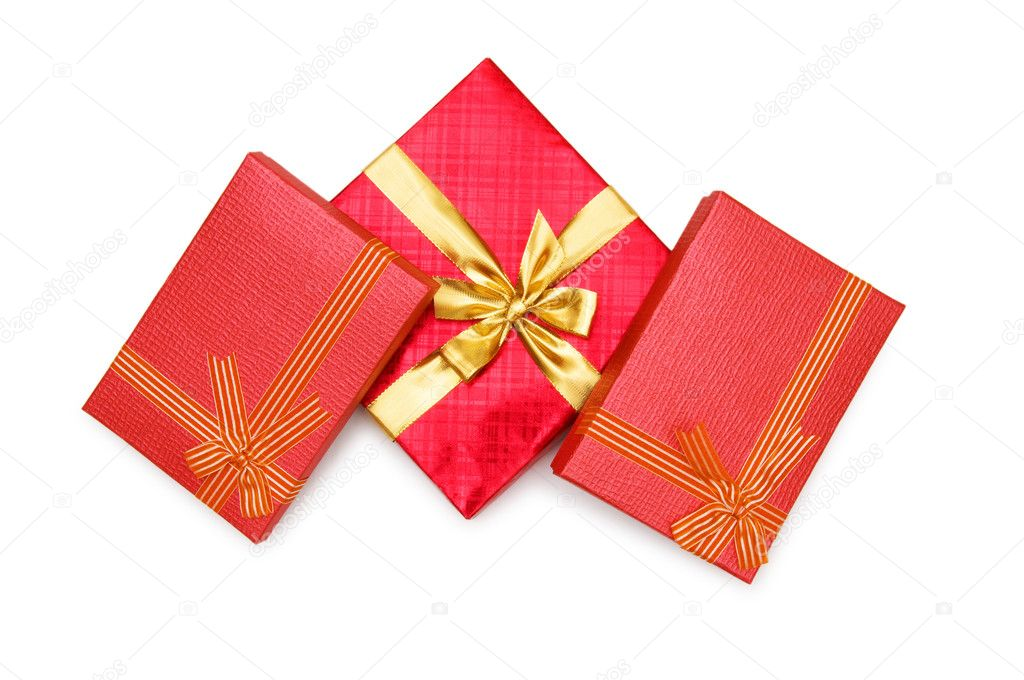 Gift boxes isolated on the white background — Stock Photo #1952846