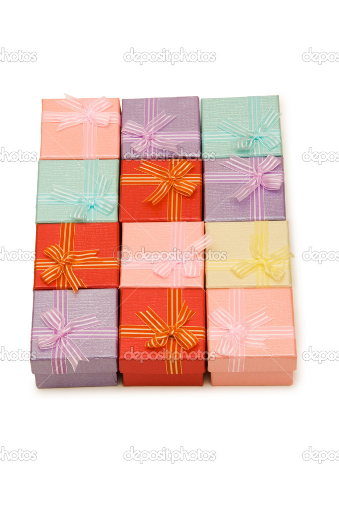 Gift boxes isolated on the white background  Stock Photo #1952871