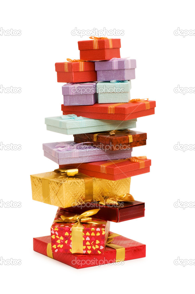 Gift boxes isolated on the white background  Stock Photo #1952933