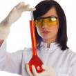 Woman with chemical tubes - Stockfoto