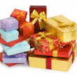 Stock Photo: Many giftboxes isolated on the white